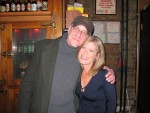 Lori with Alan Baer, Beat Kitchen club owner who's been with CSN from the beginning, Nov. 1988