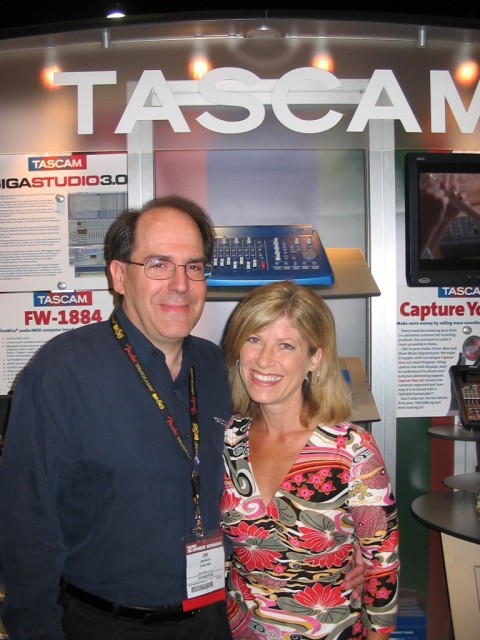 Lori with Jim Mack, Tacam's V.P. of Sales and Marketing and Lori's bass player from time to time. He rocks.